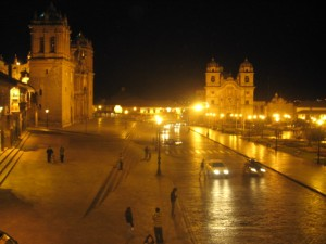 Plaza de Armas at night in Cusco.