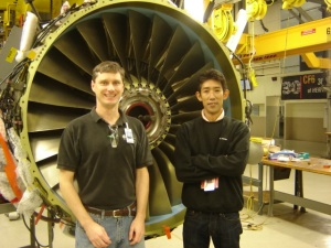 Me and my friend 'Bridge' at the GE jet engine shop in Durham, NC.