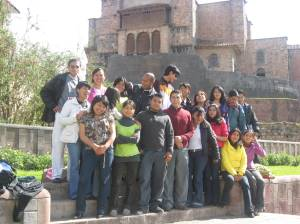 My ESL students at ICPNA in front of the Qoricancha in Cusco, Peru