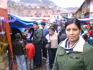 Last minute Christmas shopping at the Plaza de Armas in Cusco, Peru.