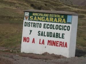 A roadside sign opposing mining near Sangarara, Peru.