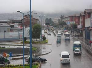 Traffic on Av. Cultura during rainseason in Cusco