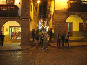 Calle Procuradores seen from the Plaza de Armas, Cusco