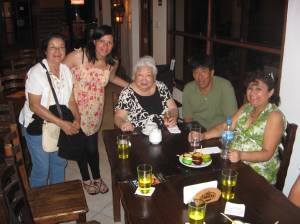 Carlos, the owner of La Taberna, with Patricia and other friends.