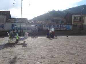 Bus back to Cusco, from the main square of Huasao