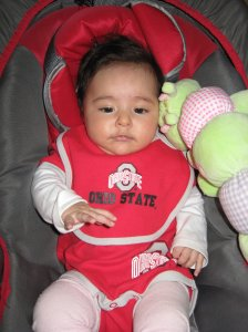 Brianna Nayaraq in her Ohio State outfit