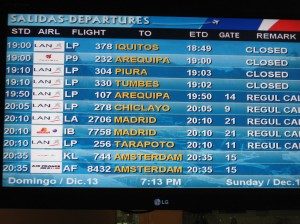 Lima airport departures