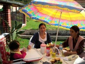 Enjoying lunch outdoors