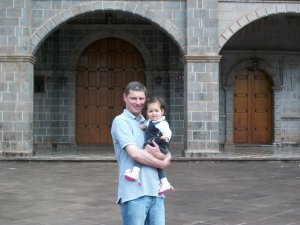 In front of Señor de Huanca's church