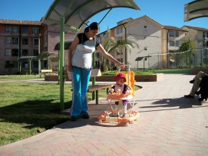Mommy and Brianna playing in the new park