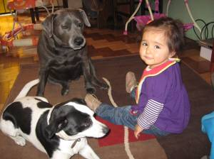 Roxi and Manchita, with our baby Brianna
