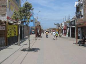 A street leading to the main square in Pisco, Peru