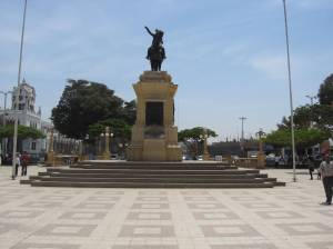Plaza de Armas, or main square, in Pisco, Peru