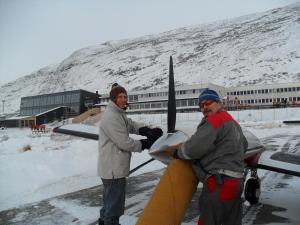 Preheating the airplane in Greenland