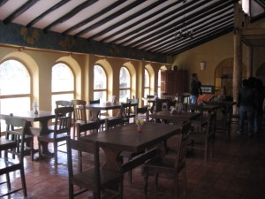 Dining room of a hotel in the Sacred Valley of the Inca