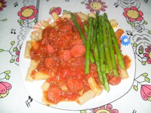 pasta with homemade sauce and asparagus