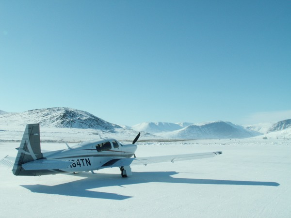 Mooney Acclaim on ramp at Qikiqtarjuaq (CYVM) airport.